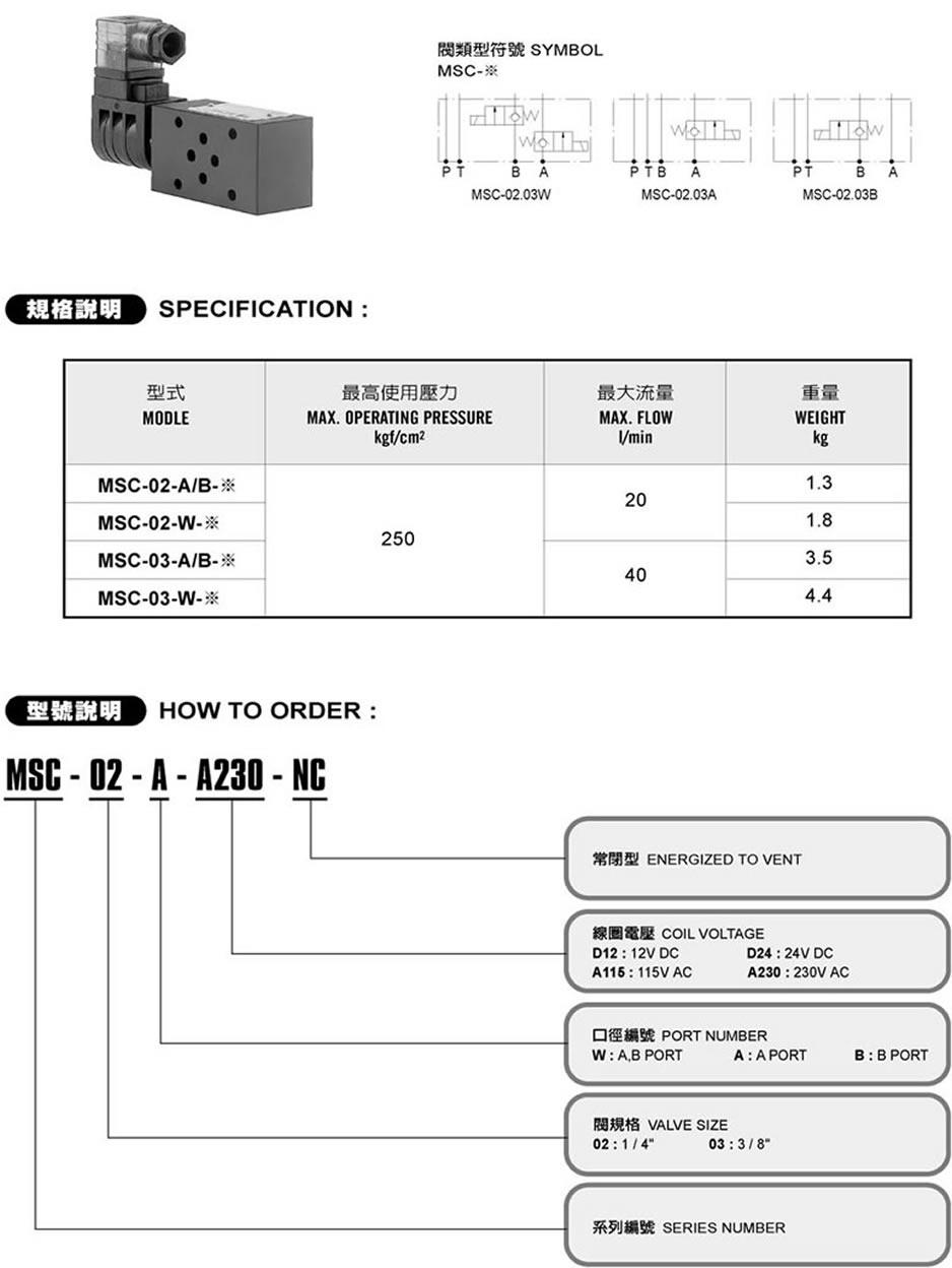 久冈叠加式电控单向阀MSC-02-A-A230-NC