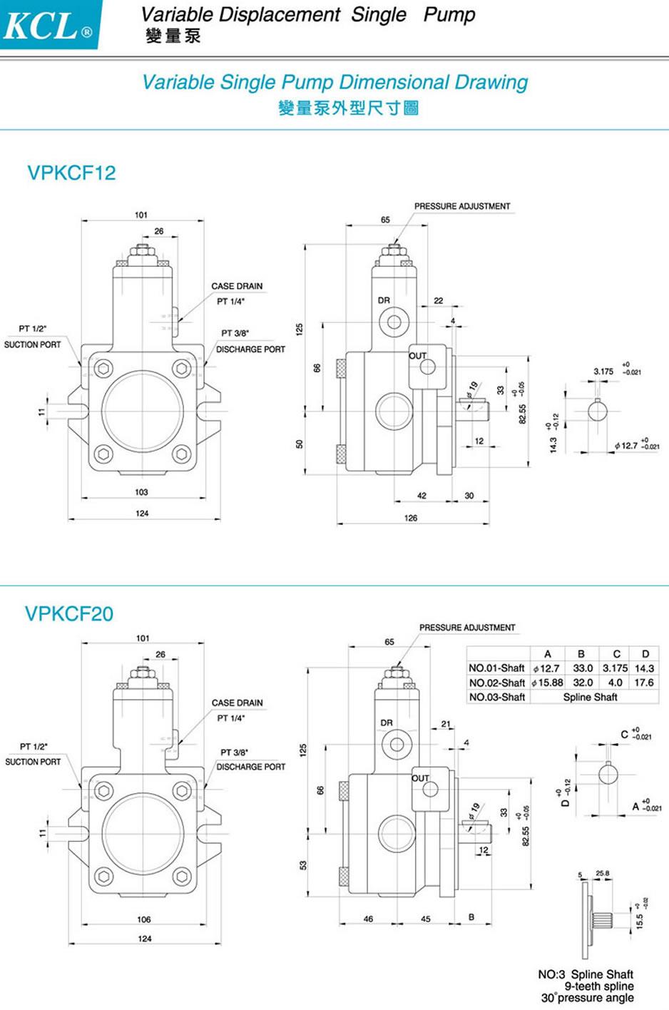 台湾凯嘉单联变量泵外形尺寸图