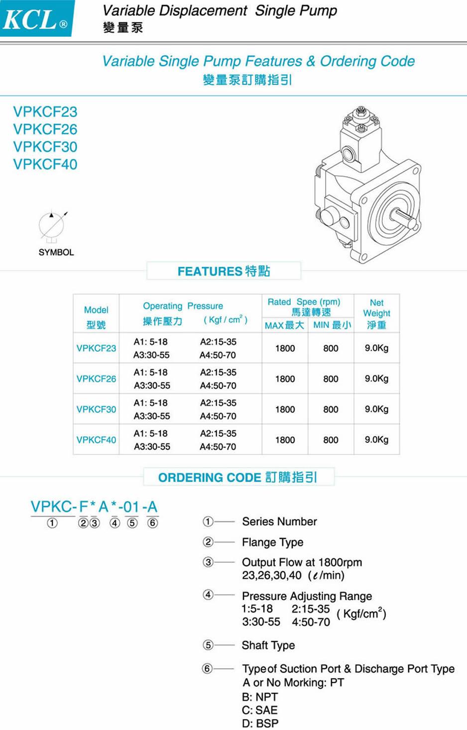 台湾凯嘉单联变量泵型号说明